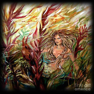 Seaweed Mermaid Pillow Art Print by Linda Olsen
