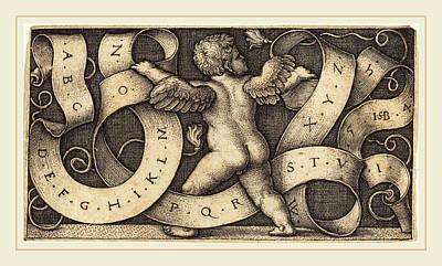 Sebald Beham German, 1500-1550, Genius With Alphabet Art Print