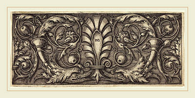 Grotesque Drawing - Sebald Beham German, 1500-1550, Ornament With Two Grotesque by Litz Collection