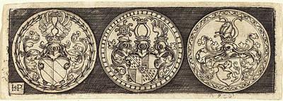 Sebald Beham German, 1500 - 1550, Three Medals With Coats Art Print