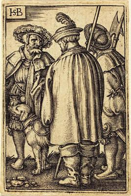 Sebald Beham German, 1500 - 1550, Three Soldiers And A Dog Art Print