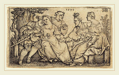 Clown Pair Drawing - Sebald Beham German, 1500-1550, Two Loving Pairs With Clown by Litz Collection