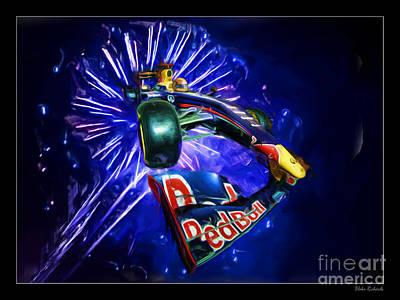Photograph - Sebastian Vettel Red Bull Fire Works by Blake Richards