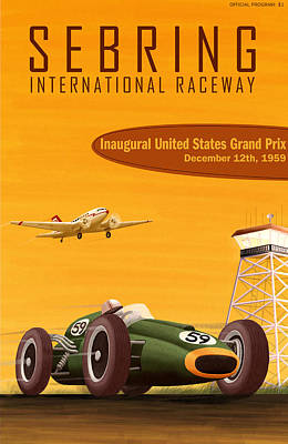 Sebring Usa Grand Prix 1959 Art Print by Georgia Fowler