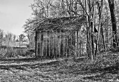 Photograph - Secluded Barn In Bw by Greg Jackson