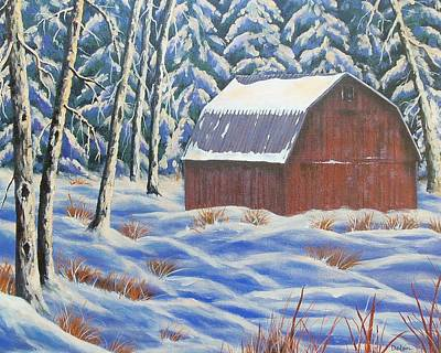 Art Print featuring the painting Secluded Barn by Susan DeLain