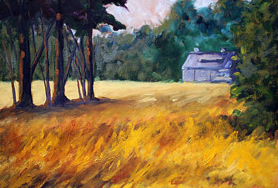 Contemporary Barn Landscape Painting - Secluded by Nancy Merkle