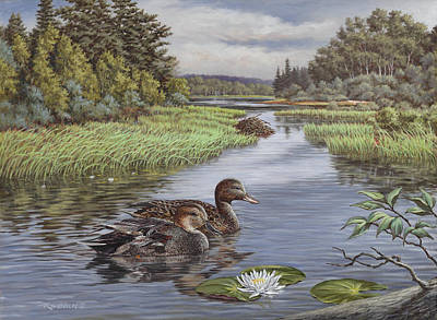 Waterfowl Painting - Secluded Rendezvous by Richard De Wolfe