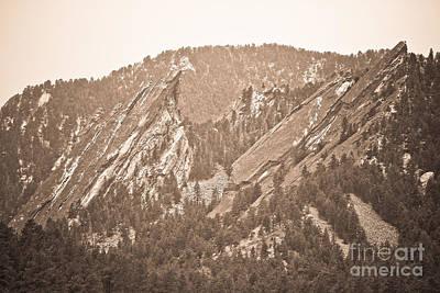 Sepia Photograph - Second And Third Flatirons Boulder Colorado Sepia by James BO  Insogna