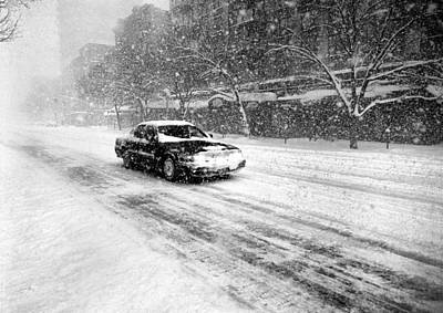 Photograph - Second Avenue Blizzard With Car by Dave Beckerman
