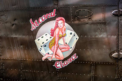 Art Print featuring the photograph Second Chance - Aircraft Nose Art - Pinup Girl by Gary Heller