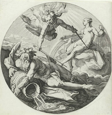Decanters Drawing - Second Creation Parting Between The Waters by Jan Harmensz. Muller And Hendrick Goltzius And Hendrick Goltzius