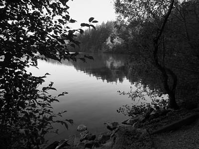 Second Lake Padden Reflection In Black And White  Art Print by Karen Molenaar Terrell