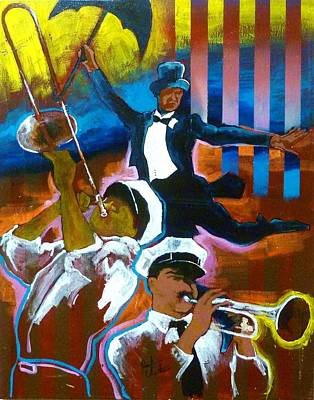 Mardi Gras Painting - Second Line by Reuben Cheatem