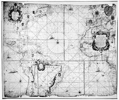 Caribbean Sea Painting - Second Paskaert Map, 1621 by Granger