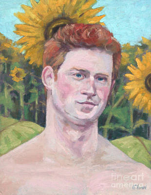Prince Harry Painting - Second Sonflower by William Noonan