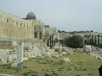 Photograph - Second Temple Ruins - The Mosque Of Omar And The Mt. Of Olives  by Esther Newman-Cohen