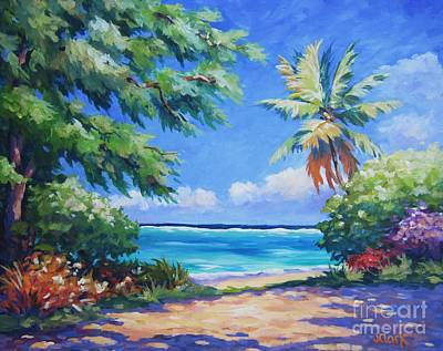Puerto Rico Painting - Secret Beach  by John Clark