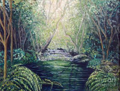 Water Filter Painting - Secret Forest Pool by Caroline Street
