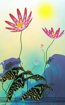 Abstract Flowers Digital Art - Secret Lotus by GuoJun Pan