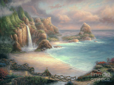 Beautiful Beach Painting - Secret Place by Chuck Pinson