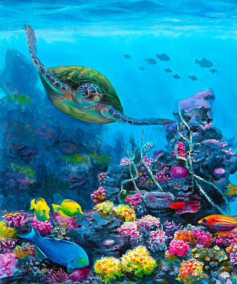Colorful Tropical Fish Painting - Secret Sanctuary - Hawaiian Green Sea Turtle And Reef by Karen Whitworth