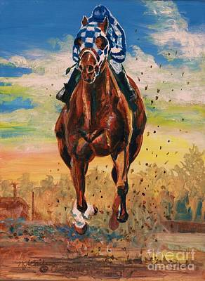 Secretariat Painting - Secretariat - I Work Alone by Nancy J Bailey