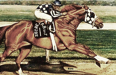 Secretariat Making His Move Browns Art Print by Bets Klieger
