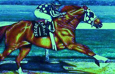 Secretariat Making His Move Glowing Highlights Art Print