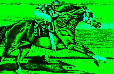 Secretariat Making His Move Green Art Print by Bets Klieger