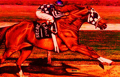Secretariat Making His Move Red Art Print by Bets Klieger