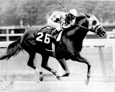 Painted Photograph - Secretariat Vintage Horse Racing #12 by Retro Images Archive