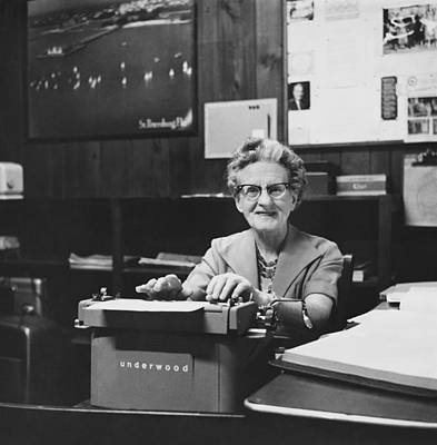 Underwood Typewriter Photograph - Secretary-treasurer Of Senior Citizens by Rollie McKenna