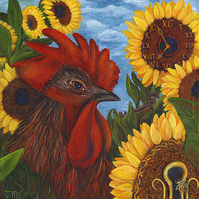 Sunflower Painting - Secrets Of The Garden Rooster by Debbie McCulley