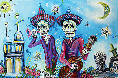 Dia De Los Muertos Painting - Secrets Of The Mariachi by Laura Barbosa
