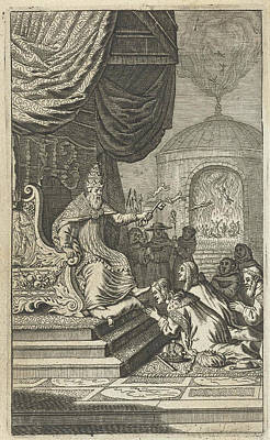 Volumes Drawing - Secular Princes Kneeling Before The Pope by Samuel Van Hoogstraten And Michiel De Groot