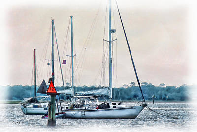 Artwork Digital Art - Sailboats - Coastal - Secure Moorings by Barry Jones