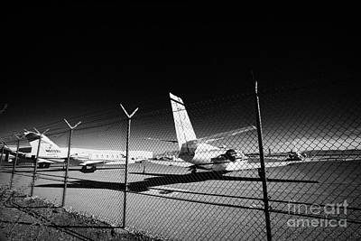Security Chain Link Fencing With Warning Restricted Area Sign On The Perimeter Of Mccarran Airport Art Print