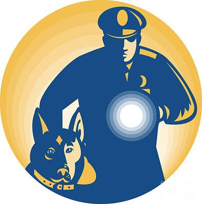 Security Guard Policeman Police Dog Art Print by Aloysius Patrimonio