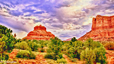 Cathedral Rock Painting - Sedona Arizona Bell Rock Vortex by Bob and Nadine Johnston