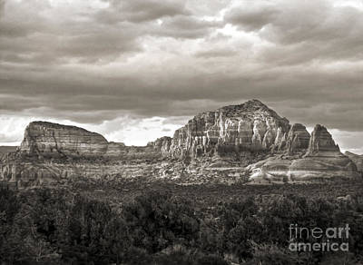 Sedona Arizona Black And White Mountains And Big Sky Art Print by Gregory Dyer