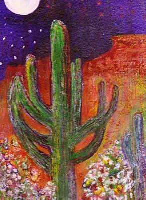 Sedona Arizona Cacti At Night Art Print by Anne-Elizabeth Whiteway