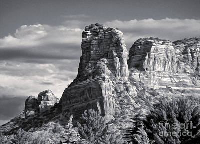 Sedona Arizona Mountain Peak - Black And White Art Print