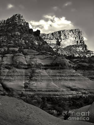 Sedona Arizona Mountains In Black And White - 02 Art Print by Gregory Dyer