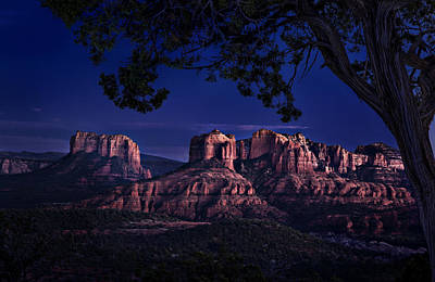 Sedona Cathedral Rock Post Sunset Glow Art Print by Mary Jo Allen