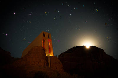 Copyright 2013 By Mike Berenson Photograph - Sedona Chapel Moonrise Vortex by Mike Berenson