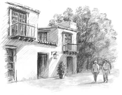 Office Space Drawing - Sedona Market by Sarah Parks
