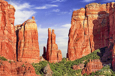 Digital Art - Sedona Red Rock Cathedral Rock State Park by Bob and Nadine Johnston