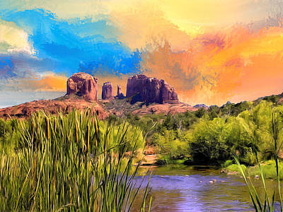 Cathedral Rock Painting - Sedona Sky by Dominic Piperata