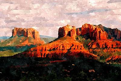 Cathedral Rock Painting - Sedona Skyline by Duende Artworks
